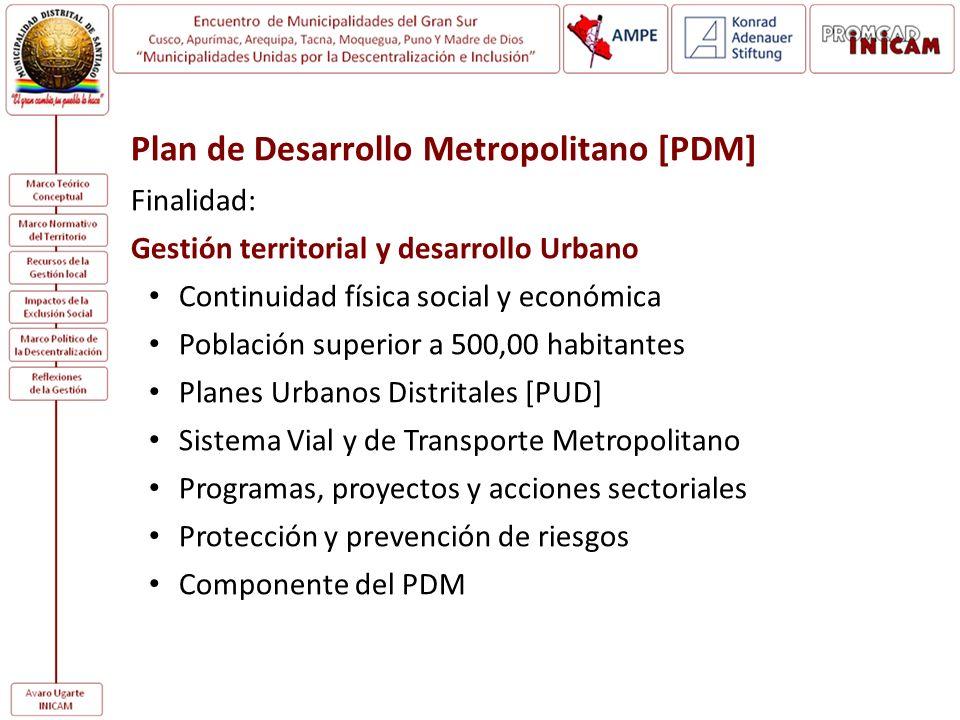Plan de Desarrollo Metropolitano [PDM]